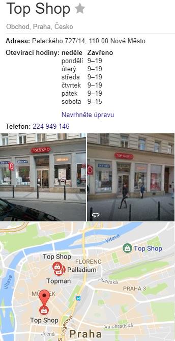 Topshop eshop prodejny v Praze