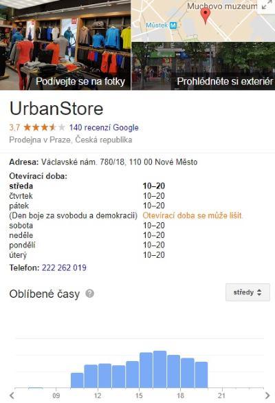 Urbanstore eshop otevírací hodiny recenze