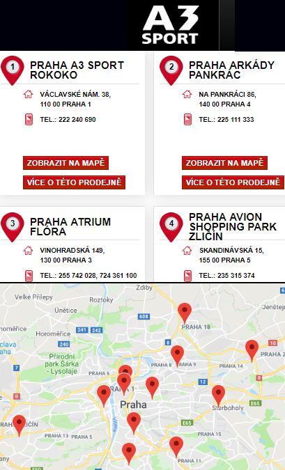 A3 sport eshop prodejny Praha