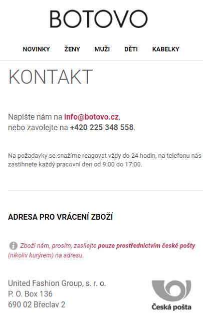 Eshop Botovo adresa na vrácení