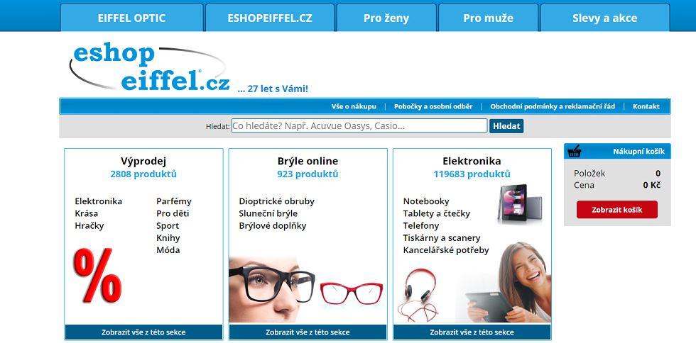 Eshop Eiffel optic hlavní stránka