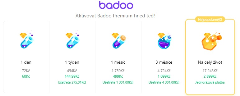 Badoo ceník premium